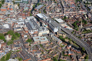 Reading town centre and The Oracle Shopping Centre  aerial photograph