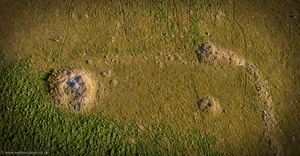 prehistoric settlement north west of  Little Rough Tor Bodmin Moor Cornwall  from the air