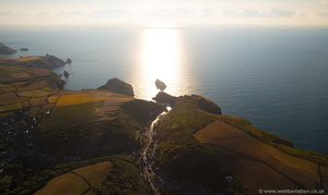 Boscastle  sunset aerial photograph
