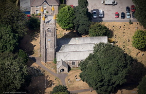 Church of St Clarus , Parish Church of St Cleer   Cornwall aerial photograph