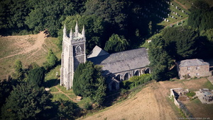 St Crida's Church, Creed Cornwall aerial photograph