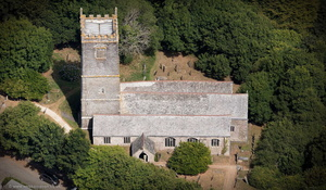 Church of St Willow Lanteglos   aerial photograph