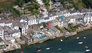 the riverside at Fowey Cornwall  aerial photo