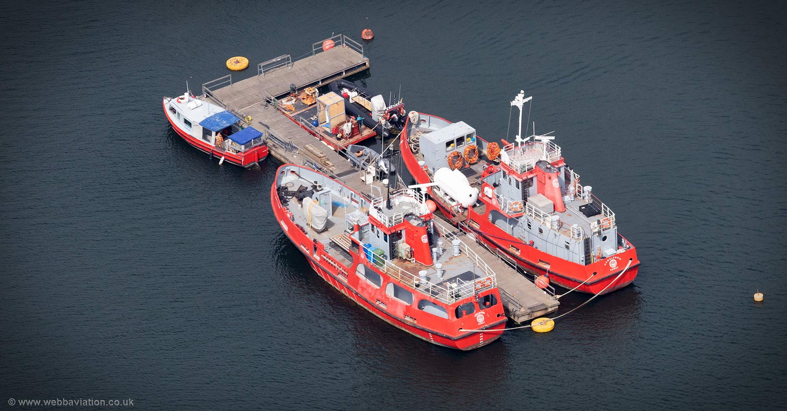 Tug Cannis moored at Fowey  aerial photograph