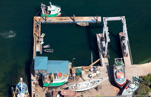 Polruan Boatyard Cornwall  from the air