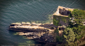 Polruan Castle Cornwall  from the air
