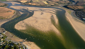 sand bars on the River Camel Estuary  near Padstow  from the air