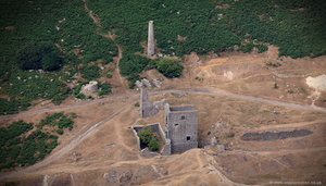 South Caradon Mine -  19th century copper mine  Cornwall aerial photograph