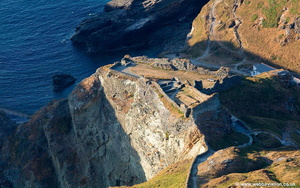 Tintagel Castle entrance  aerial photograph