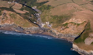Trebarwith Strand Cornwall from the air