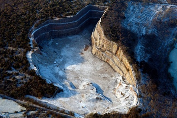 Middlebarrow Quarry  in the Lake District Cumbria UK aerial photograph