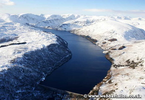 Hawswater Reservoir in the Lake District Cumbria UK aerial photograph