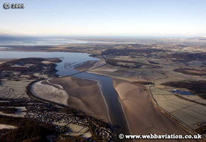 Milnthorpe Sands  in the Lake District Cumbria UK aerial photograph