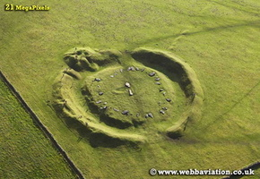 Arbor Low Neolithic henge monument  / stone circle Derbyshire  aerial photograph
