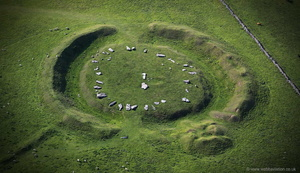Arbor Low Neolithic henge in the Peak District from the air