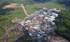 former RAF Ashbourne, now the Airfield Industrial Estate Derbyshire from the air