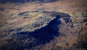 Carl Wark hill fort   in the Peak District  from the air
