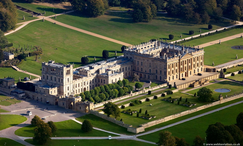 Chatsworth House from the air