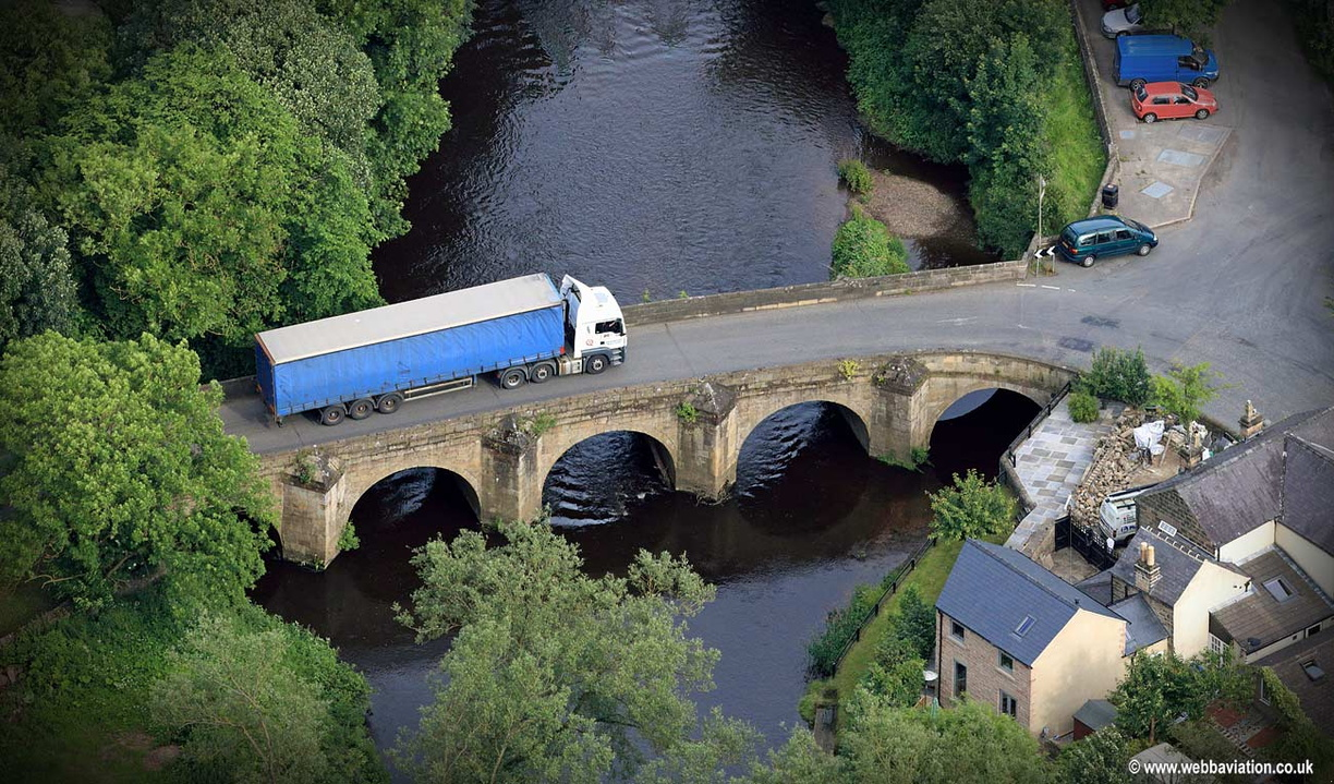 42 ton truck on a medieval bridge - aerial photograph  of Darley Bridge