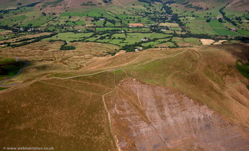 Mam Tor Bronze Age Hill Fort, Derbyshire from the air