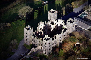 Riber Castle in ruins aerial photograph taken 2007