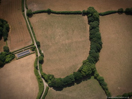 Berry Castle Iron Age enclosure Black Dog Devon from the air