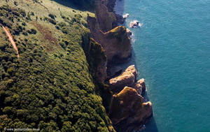 cliffs on the North Devon coast showing coastal erosion aerial photograph