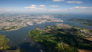 The Hamoaze Plymouth UK aerial photograph