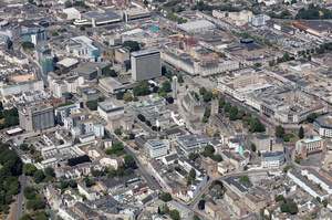 Plymouth city centre aerial photograph