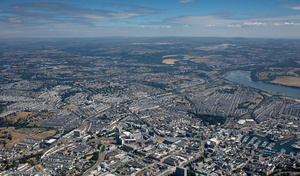 Plymouth panorama  aerial photograph