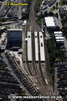 Plymouth railway station Devon UK aerial photograph