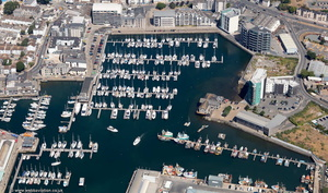 Sutton Harbour Marina Plymouth aerial photograph