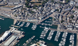 The Barbican waterfront, Plymouth aerial photograph