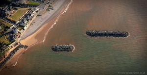 Sidmouth rock breakwaters Coastal Defences from the air