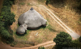 recreated Iron Age Roundhouse in Devon  from the air
