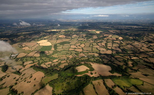 prehistoric landscape around  Dumpdon Camp iron age  hillfort  from the air