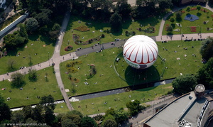 tethered balloon at Lower Gardens Bournemouth from the air
