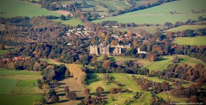 Brancepeth Castle Durham England UK aerial photograph