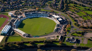 Emirates Riverside Ground cricket Ground in Chester-le-Street, County Durham aerial photograph