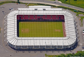 Darlington football stadium  Durham England UK aerial photograph