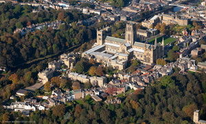 Durham Cathedral  County Durham England UK aerial photograph