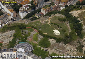 Hastings Castle East Sussex aerial photograph