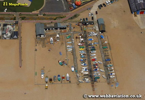 fishing boats on Hastings beach Hastings East Sussex aerial photograph