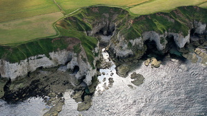coastal erosion at Flamborough Head from the air