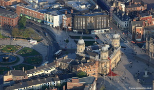 Hull Maritime Museum with the weeping window Poppies display  aerial photograph