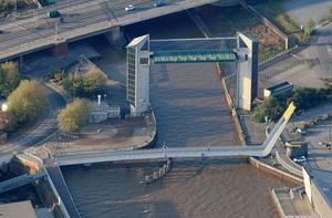 The Hull Tidal Surge Barrier  and Millenium Bridge  aerial photograph