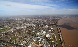 Kingston upon Hull from the west England UK  aerial photograph