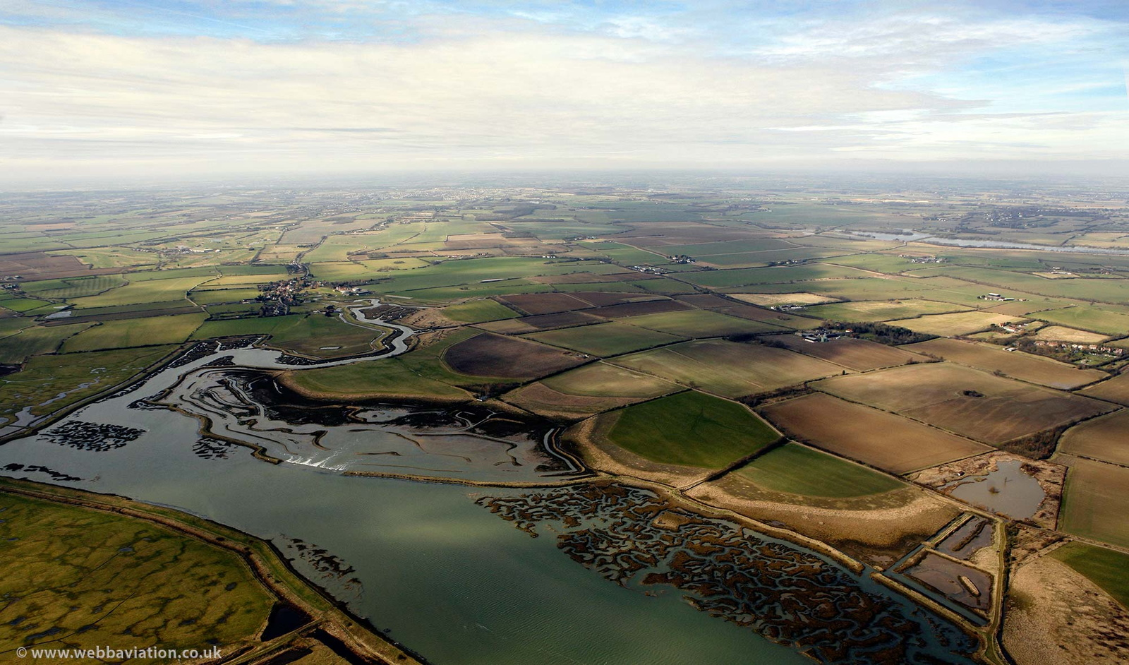 Abbotts Hall Managed Coastal Realignment Scheme from the air