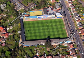 Layer Road football ground, aerial photograph