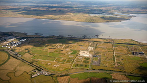 London Gateway Port before construction from the air